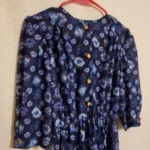 Vintage | Blue Floral Midi Dress